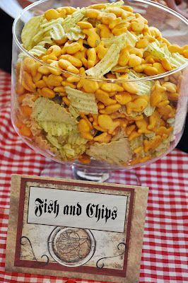 hahaha!  too cute pirate party snacks - fish and chips!
