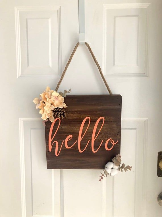 Wood Sign With Faux Flowers Hello Dark Wood Coral Lettering Wall Or Door Hanger Wood Signs Faux Flowers Staining Wood