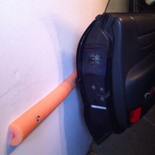 Save your car door in the garage. Cut a dollar store swim noodle in half. No more chips.