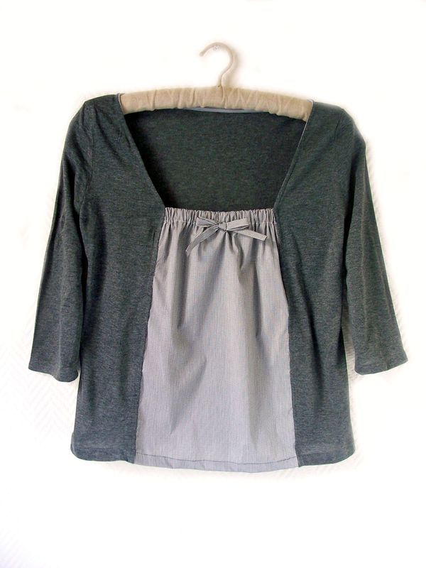 Great idea for a t-shirt that's too tight. Overlap more for a cardigan look