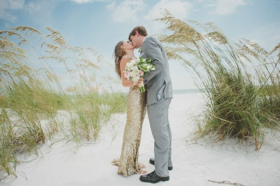 Mint and gold destination wedding   Photo by Dixie Pixel   Gold dress by Badgley Mischka   Read more - http://www.100layercake.com/blog/?p=66859