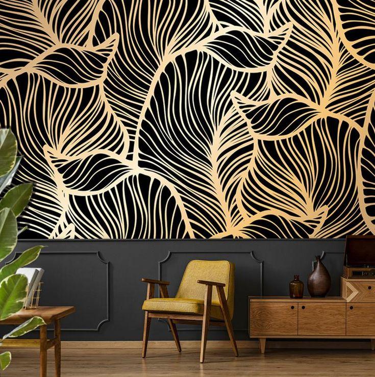Banana leaf wallpaper, peel and stick tropical wall mural