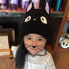 Criança chapéu feito malha outono e inverno quente chapéu feito malha gato cap pai-filho cap protetor auricular cap pullover bonito unisex malha chapéu(China (Mainland))