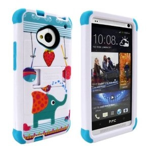 $17 of Amazon.com MINITURTLE(TM) HTC ONE M7 Tri Shield Built-in Kickstand Case with Screen Protector Film (Strawberry Candy Elephant)