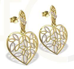 Kolczyki wiszące ze złota w kształcie serca / Heart shaped earrings made from gold / 1 217 PLN / #jewellery #bizuteria #earrings #heart #heart_shaped #gold
