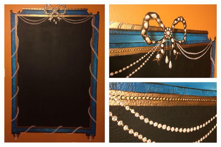 Handpainted frame around chalkboard wall.