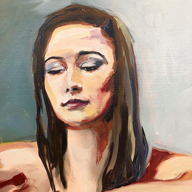 Emma. Detail from small study on board. #oilpainting#portrait#woman#oilpaint#face#art