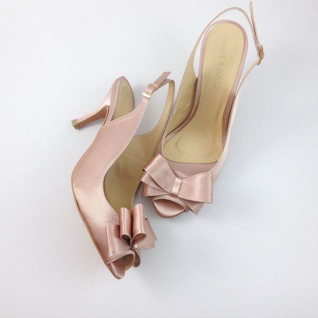 Peach Slingback Bridal Shoes Wedding Champagne Bridesmaid