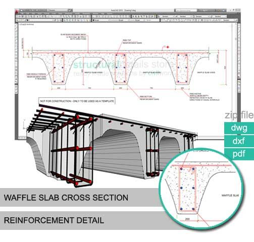 Waffle Slab Cross Section Reinforcement Detail