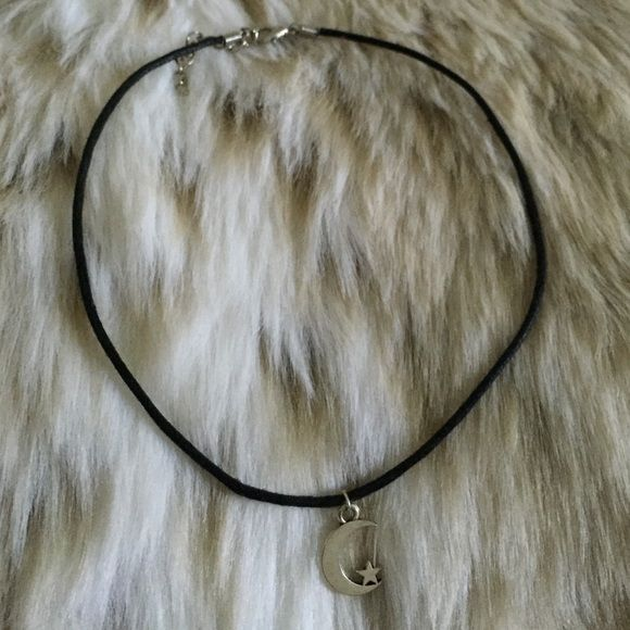 Crescent Moon & Star Choker Adjustable black cord choker with crescent moon & star charm Brandy Melville Jewelry Necklaces
