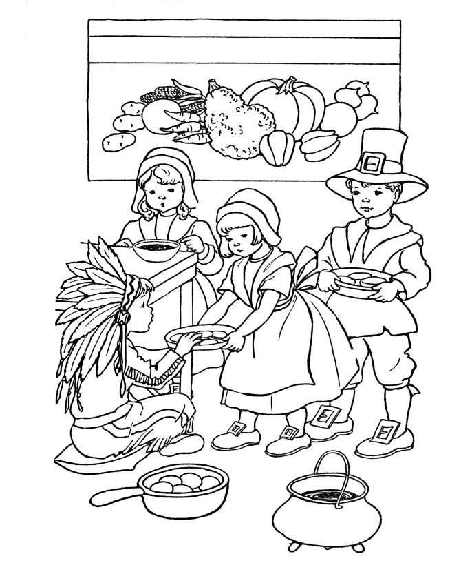 Kid thanksgiving coloring pages free
