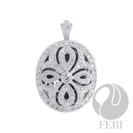 .925 Sterling silver pendant with black AAA CZ from GWT Galleries, FERI Designer Lines,
