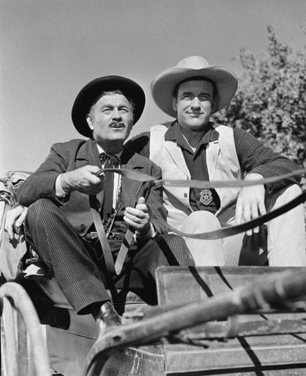 GUNSMOKE (CBS-TV) - James Arness (as 'Marshal Matt Dillon') and Milburn Stone (as 'Doc Adams')