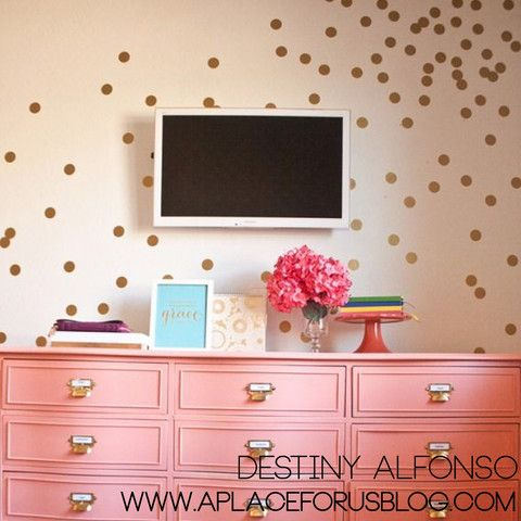 """2"""" Confetti Polka Dots wall decal on wall in living room"""