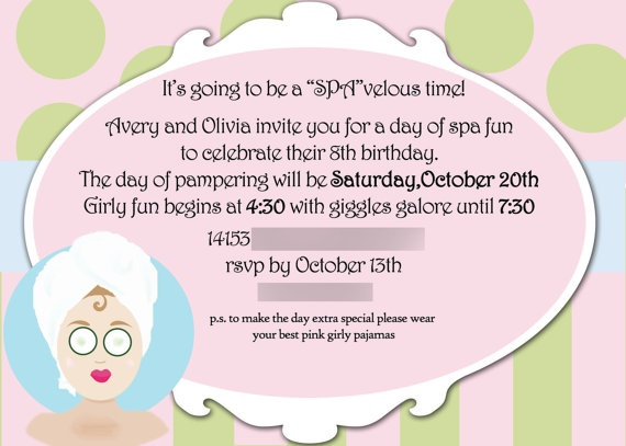 46 best images about Spa Party – Little Girl Spa Party Invitations