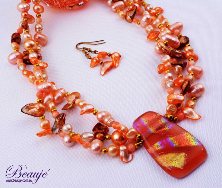 Orange necklace Apricot necklace Gemstone jewellery Semi-precious necklace Dichroic Beauje Handcrafted Unique Designer Gift Box by BeaujeJewellery on Etsy