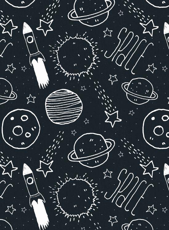 Space Doodles Art Print by Tracie Andrews Art, digital illustration decor poster