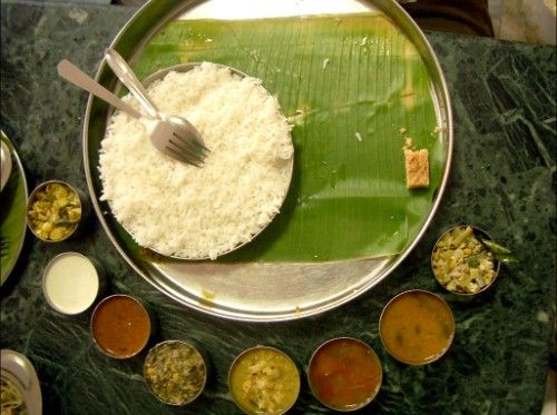 India. A table of thali