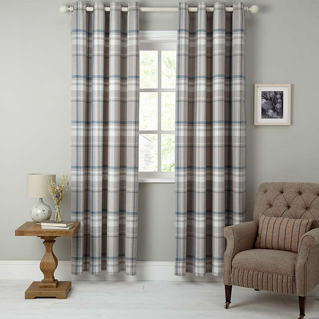 BuyJohn Lewis Darcey Check Lined Eyelet Curtains, Blue, W228 x Drop 137cm Online at johnlewis.com