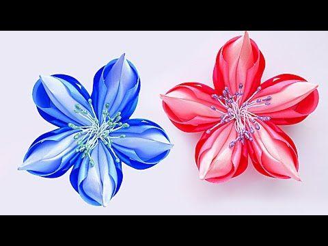 МК Волшебный цветок Канзаши. 簪 Kanzashi DIY - YouTube