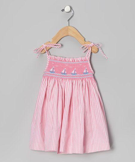 Pink Stripe Smocked Sailboat Dress - Infant & Girls