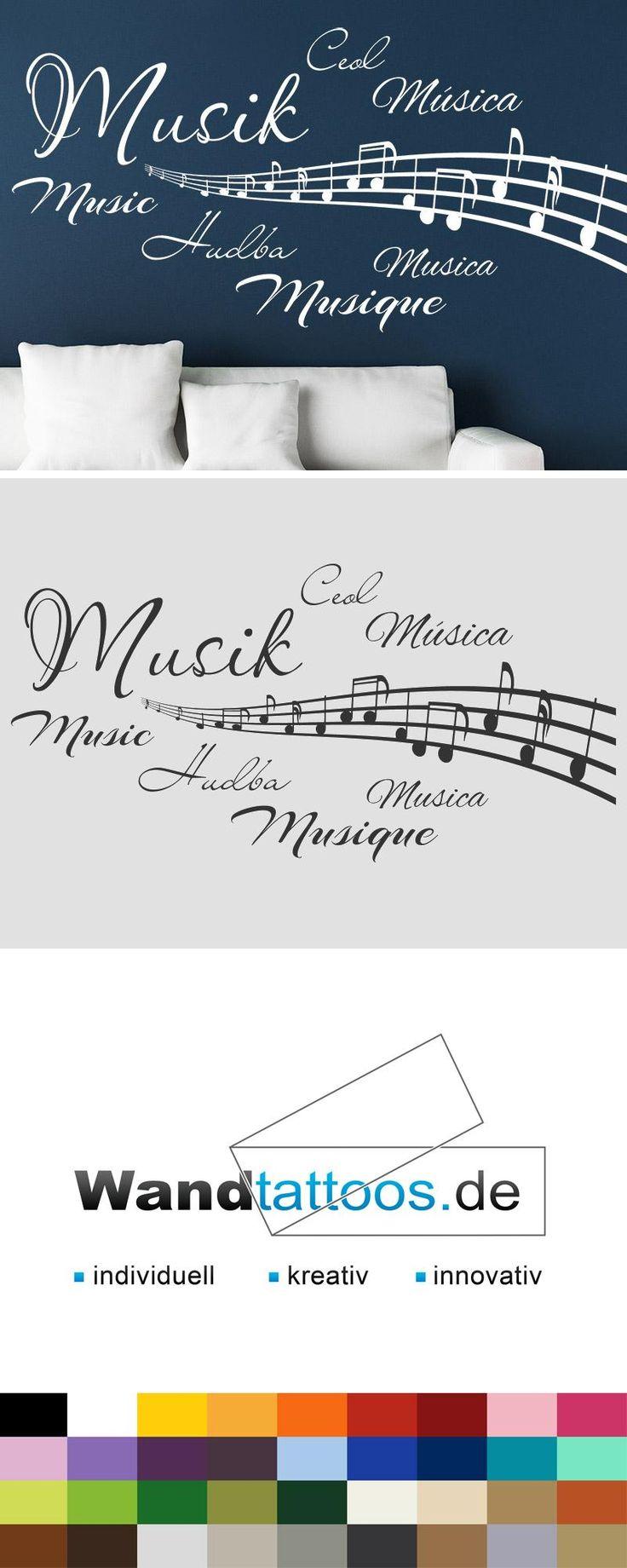 Vintage Wandtattoo Musik in verschiedenen Sprachen
