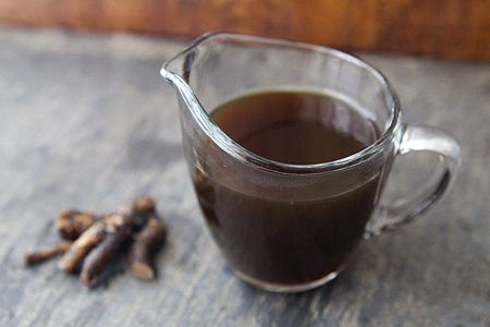 homemade root beer syrup, keeps in the fridge for a year; add soda water when you're ready to drink