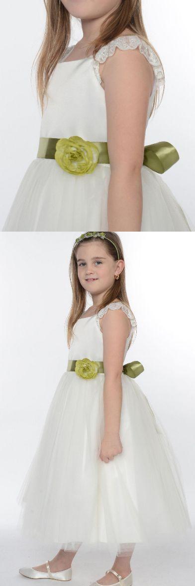 Flower Girl Dresses, A Line dresses, Long White dresses, Cheap Flower Girl Dresses, White Long Dresses, White Flower Girl Dresses, A line Flower Girl Dresses, Long Flower Girl Dresses With Flower Sleeveless Ankle-length