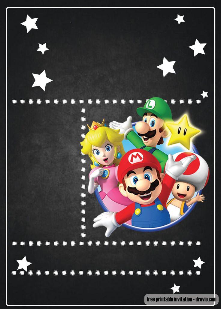 FREE Super Mario Chalkboard Invitation Template | Super ...