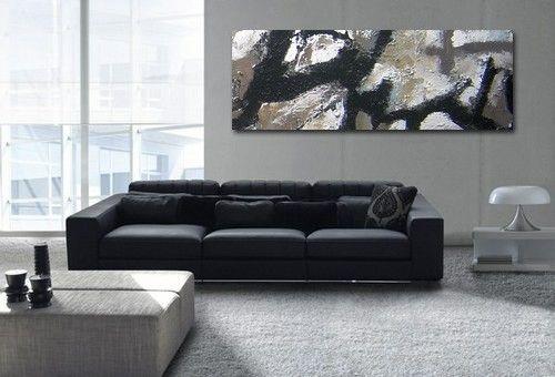 Rompe tus esquemas y cambia ahora, DECORA tu hogar con ARTE abstracto.  Cuadro Abstracto con mucha textura y pintado  a mano en lienzo con tonos marrones-grises, ocres, blancos y negros.