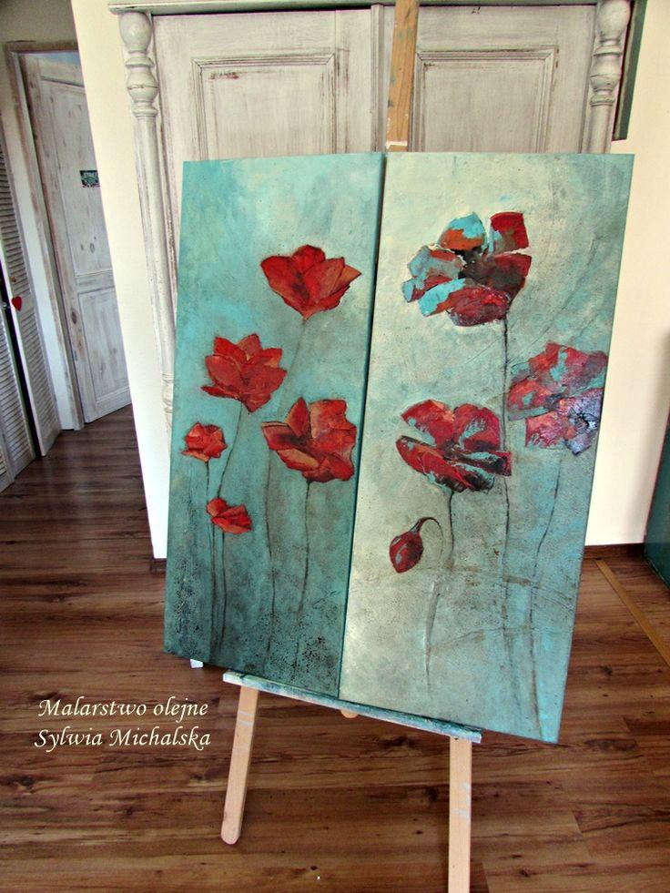 Obraz olejny przedstawiający abstrakcyjne maki by Sylwia Michalska
