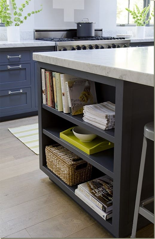 shelves on a kitchen island allow for storage for items such as recipe books and cooking magazines. -lizqm