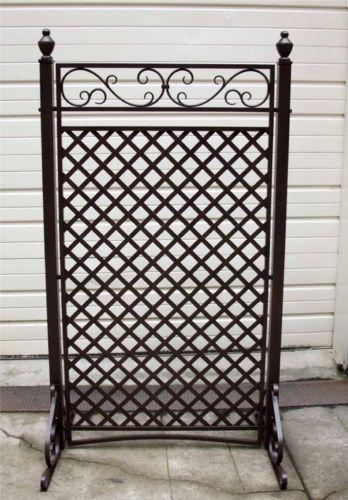 "74x30"" Dark Bronze Yard Patio Garden Privacy Screen Standalone Fence Trellis New | eBay"