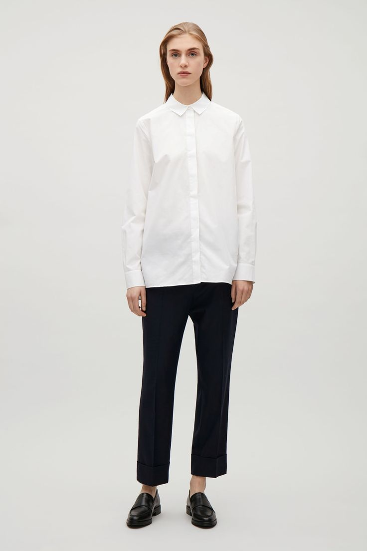COS image 5 of Tailored cotton shirt in White