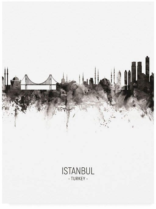 Michael Tompsett Istanbul Turkey Skyline Portrait Ii Canvas Art – 27 x 33.5