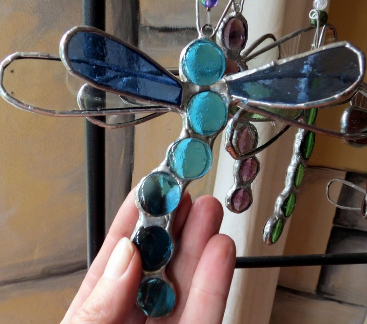 Dragonflies Stained glass, clear glass and pebble dragonflies. I love making these, they are so simple but turn out so beautifully & look gorgeous either hanging in the garden or in a window