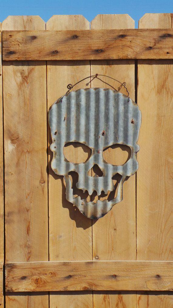 Upcycled old Corrugated Metal Skull by RockinBTradingCo on Etsy, $25.00
