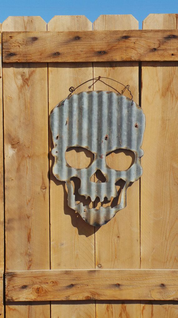 FREE SHIPPING Up-cycled old Corrugated Metal Skull