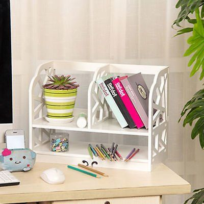 ALightUp Carving White Openwork Freestanding Book Floating Shelf / Desk Top Organization Caddy / Stationary Storage White (Qing)