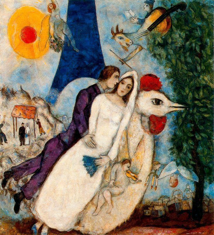 Марк Шагал «Невеста и Эйфелева башня» 1913 г. Холст, масло. Музей Марка Шагала, Ницца, Франция