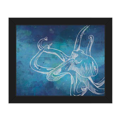 click wall art octopus in color nautical framed painting print on canvas size