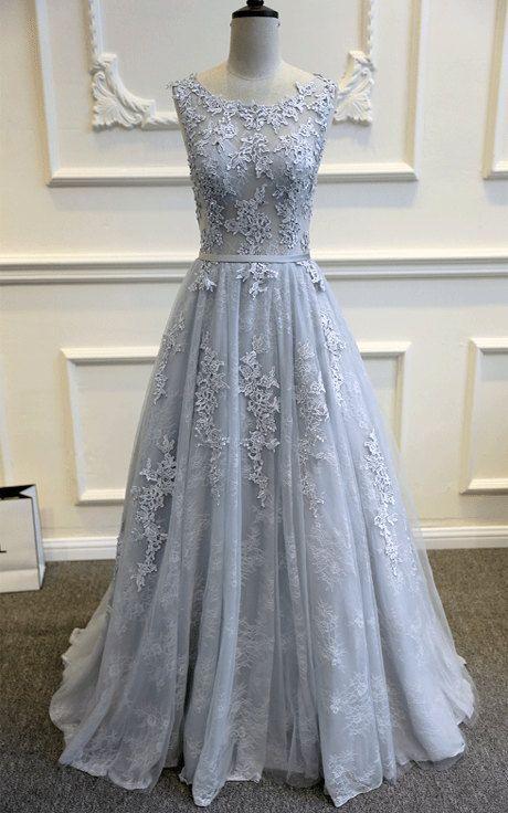 V-back Lace Wedding Dress,A-line Tulle Bridal Dress,Lace Wedding Dresses,Silver Lace and Tulle Wedding Dress