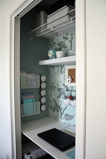 Office Closet idea, install a pocket door. Great for that spare room that has the tiny closet.