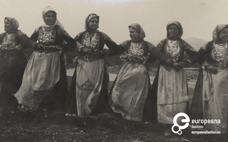 "Photo B/W photo of women with local costumes from Megara, dancing the ""Trata"". Megara, Greece"