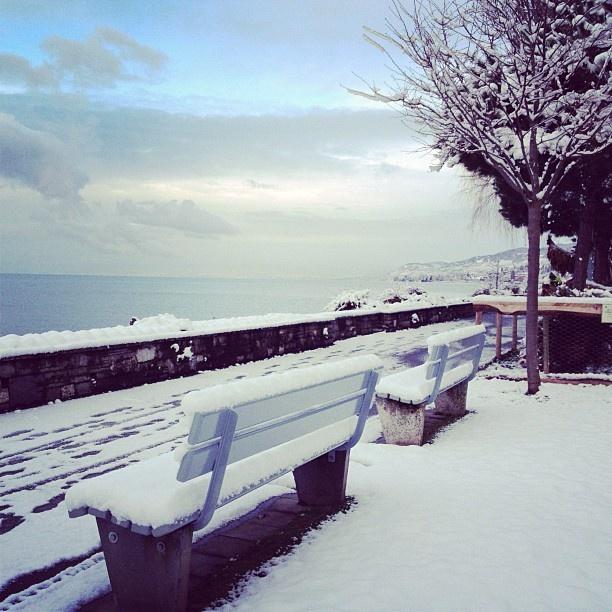 Montreux's lakeshore  #snow #montreux