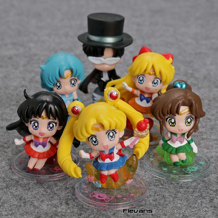 Sailor Moon Tsukino Usagi Tuxedo Mask Sailor Venus Mercury Mars Jupiter PVC Figures Toys Keychains 6pcs/set