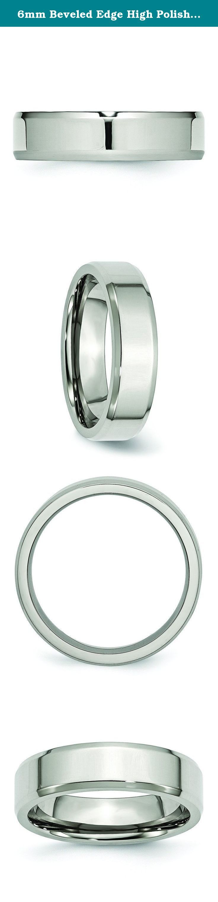 """6mm Beveled Edge High Polish Finish Stainless Steel Contemporary Wedding Band - Size 12. There are various grades of Stainless Steel in the marketplace. 316L Stainless Steel is the material we use to create the jewelry in this collection. """"L"""" stands for low carbon. 316L is used to avoid corrosion problems caused by welding and does not develop surface rust. It is very fashionable in color, can be plated and is easily personalized with engraved sentiments. -Forever Flawless Jewelry-."""