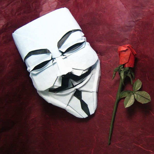 Guy Fawkes Mask in Origami http://www.instructables.com/id/THE-BEST-ORIGAMI-PROJECTS/