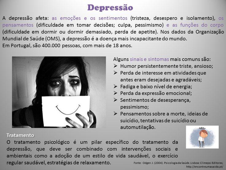 A depressão é um dos problemas de saúde mental mais comuns, pode afetar qualquer pessoa independente do grupo etário, do nível de educação ou do estatuto socioeconómico, interfere na nossa vida nos mais diferentes contextos: carreira, estudos, trabalho, amizades, relações amorosas.