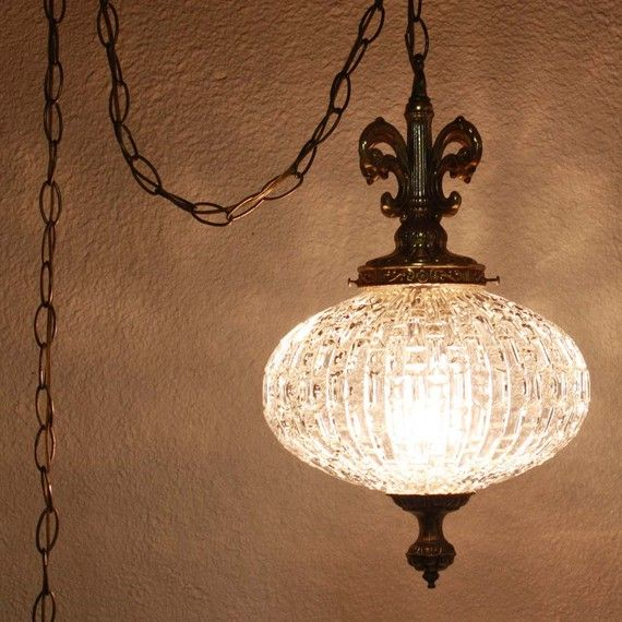 Vintage hanging light - hanging lamp - glass globe - chain cord - swag lamp - pendant light